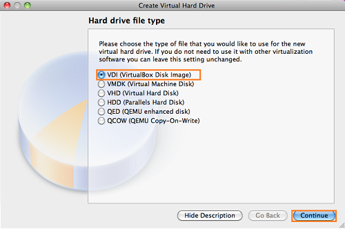 select hard disk type for virtual machine