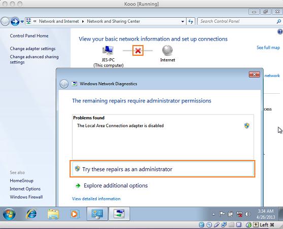 configure internet for windows on mac