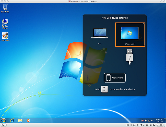 attach iphone to parallels desktop on mac os x