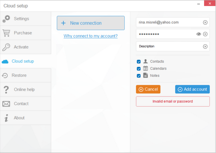 ail to set up your Yahoo account in CopyTrans ConTacts because of invalid password and email.