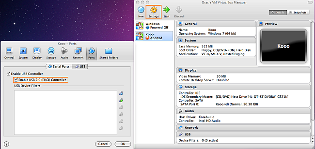 usb 2 compatibility virtual box on mac os x