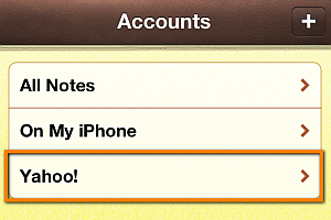 yahoo notes synced to iphone