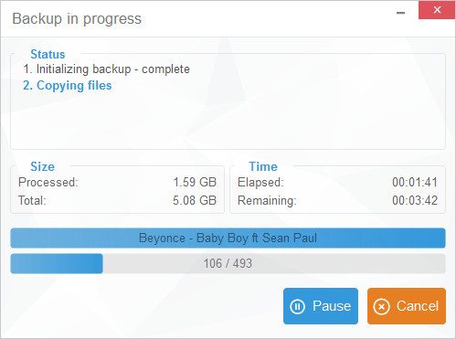 window showing transfer ipod music in progress