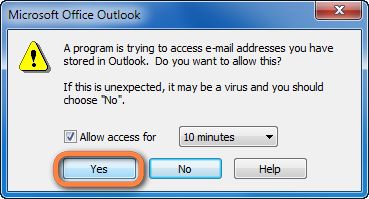 allow access to outlook contacts for 10 minutes