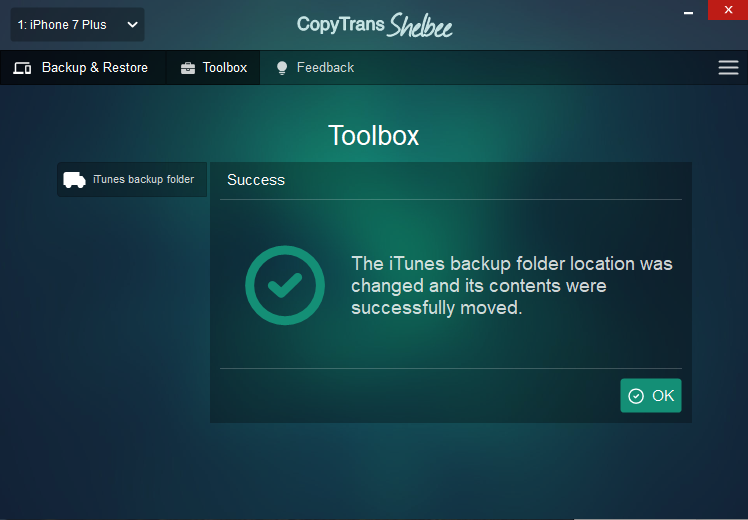 iTunes backup folder moved