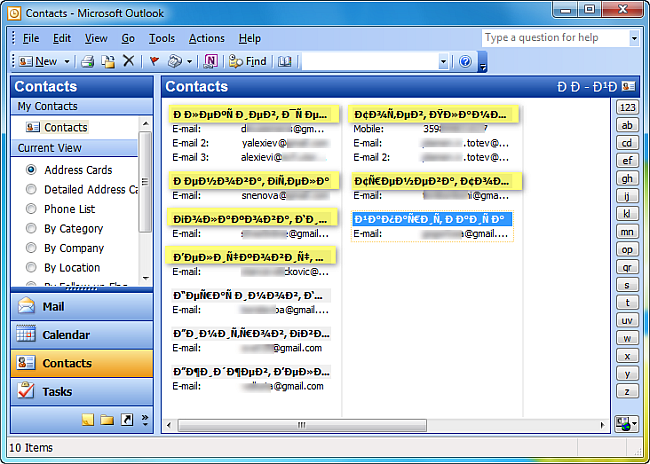 non-latin script csv files imported in outlook 2003