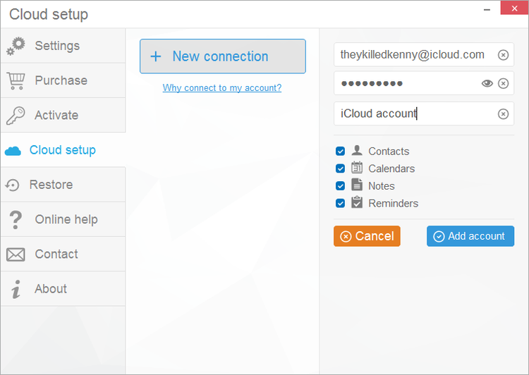 Enter your iCloud credentials