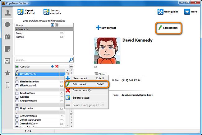edit icloud contacts in copytrans contacts