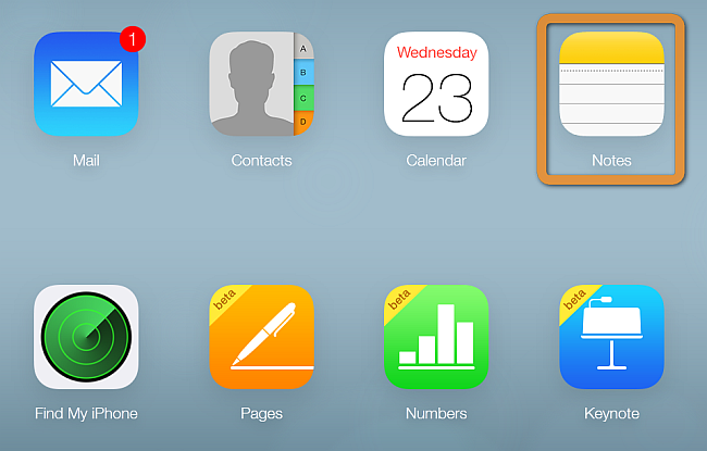 icloud notes shown after login