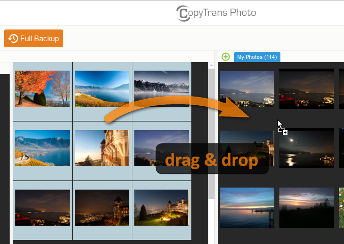 Drag and drop photos to the folder