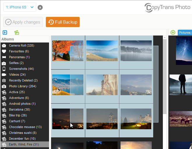 Select photos you want to transfer