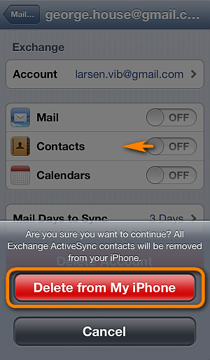 delete gmail contacts from iphone