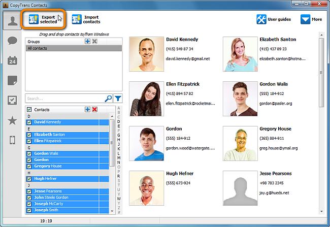 main copytrans contacts window