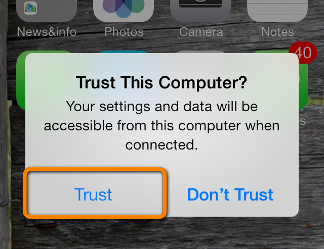 trust computer on ios 7 prompt to connect iphone to pc