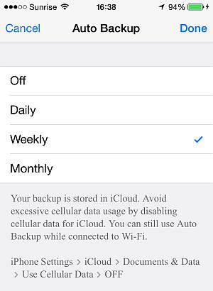 set whatsapp auto-backup interval