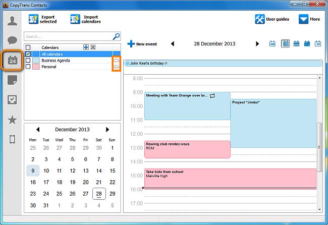 icloud calendar shown on pc via copytrans contacts