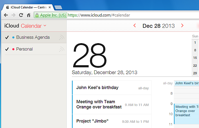 icloud calendar displayed on pc's web browser