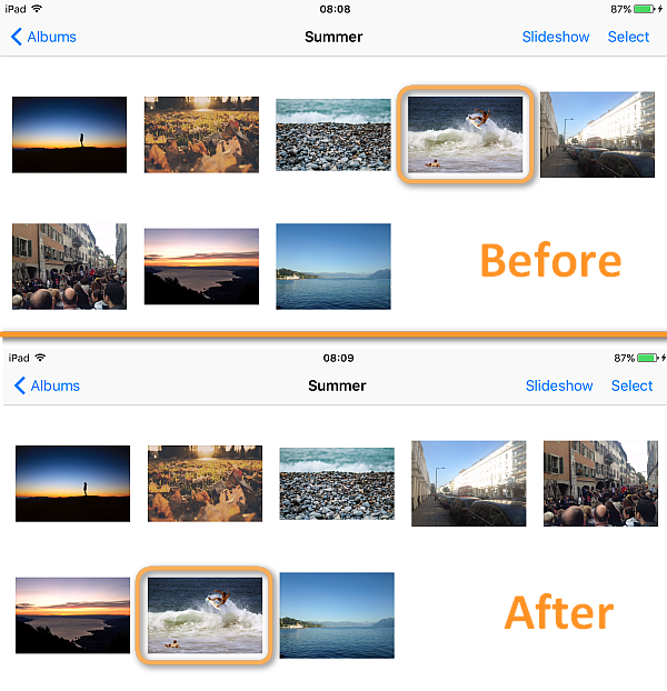 change photo order in ipad album
