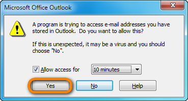 allow access to outlook for copytrans contacts