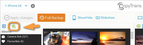 add photo album to ipad via copytrans photo