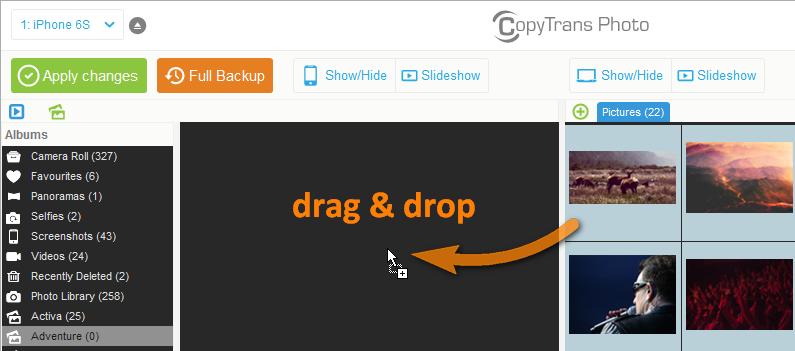 drag and drop photos to new iphone album