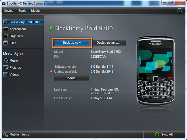 click on back up now button in blackberry desktop