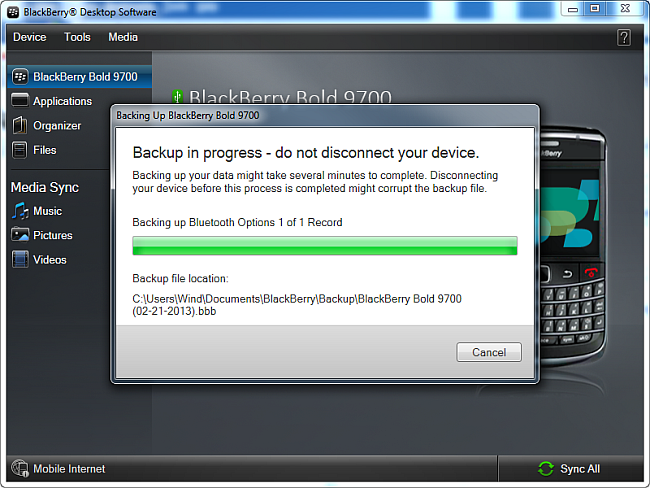 blackberry calendar backup in progress