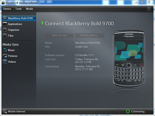 blackberry desktop software main program window with blackberry not connected
