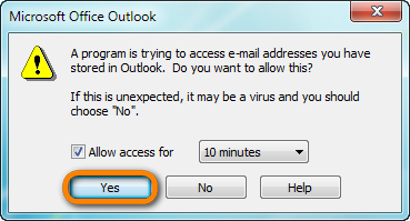 prompt message to allow access to data stored in outlook