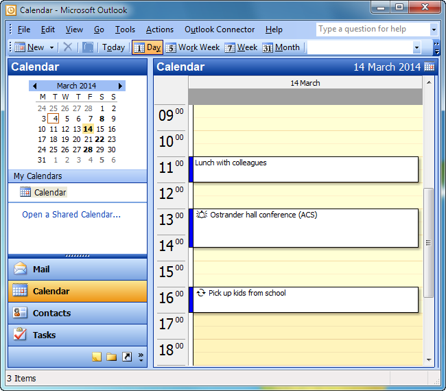 outlook calendar containing blackberry events