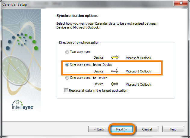 select how you want your calendar data to be synchronized between device and microsoft outlook
