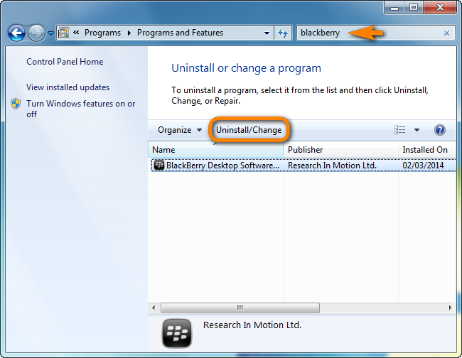 programs and features uninstall/change blackberry desktop