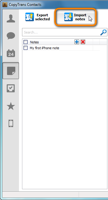 import outlook notes to iphone button in copytrans