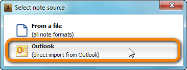 popup window to select direct note import from outlook