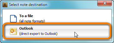 popup with choice selection direct export to outlook