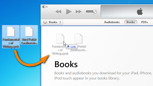 drag and drop epub books to itunes library on pc