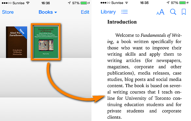 ibooks app on iphone displaying opened book