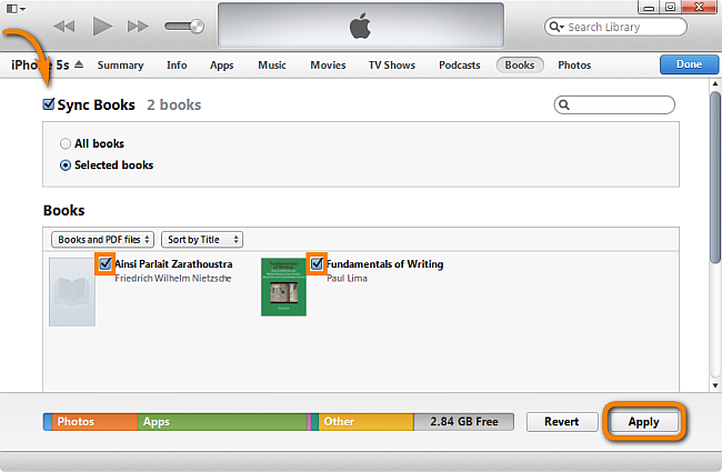 sync epub books from itunes library to iphone