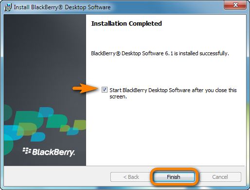 blackberry desktop software 6.1 is installed successfully