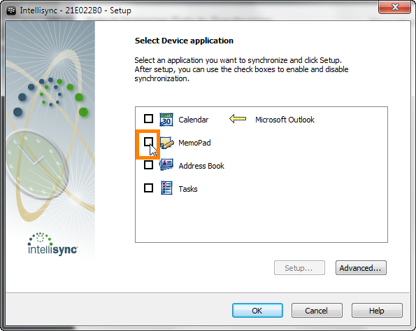 select memopad from intellisync wizard in blackberry desktop software