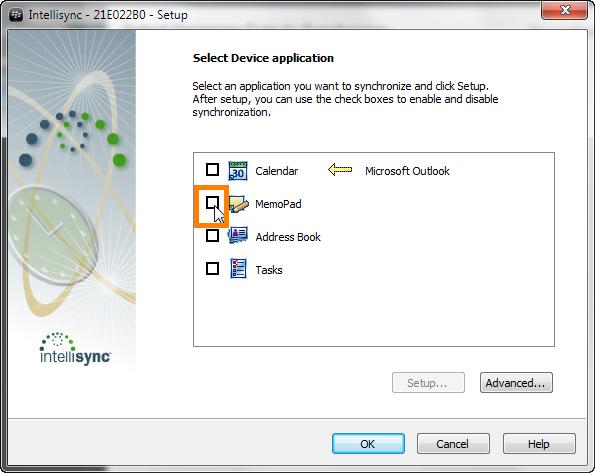 select memopad from intellisync wizard in blackberry desktop software