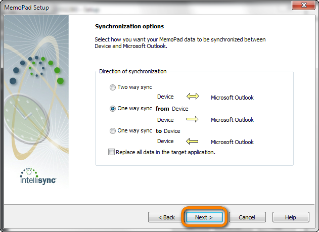 one way sync from device option in blackberry desktop software