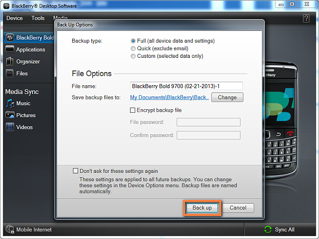 select blackberry backup type in desktop software and click to confirm