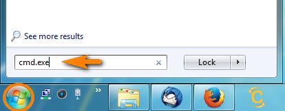 type cmd.exe in windows start menu search box