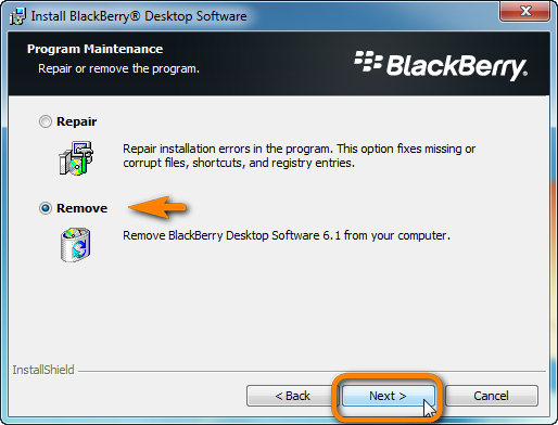 blackberry desktop uninstall wizard