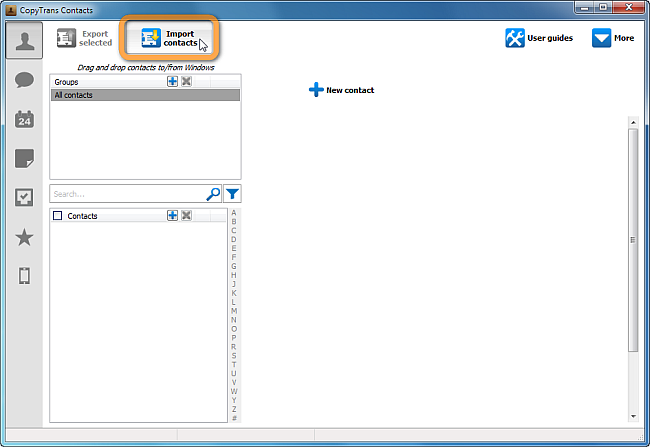 copytrans main window import contacts button
