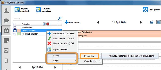 copy events from iphone to icloud calendar via copytrans