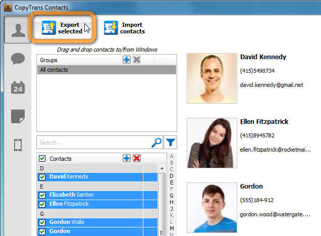 export selected button on top of copytrans contacts window