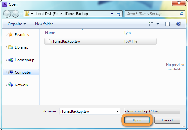 navigate to and select previous itunes backup file in copytrans tuneswift