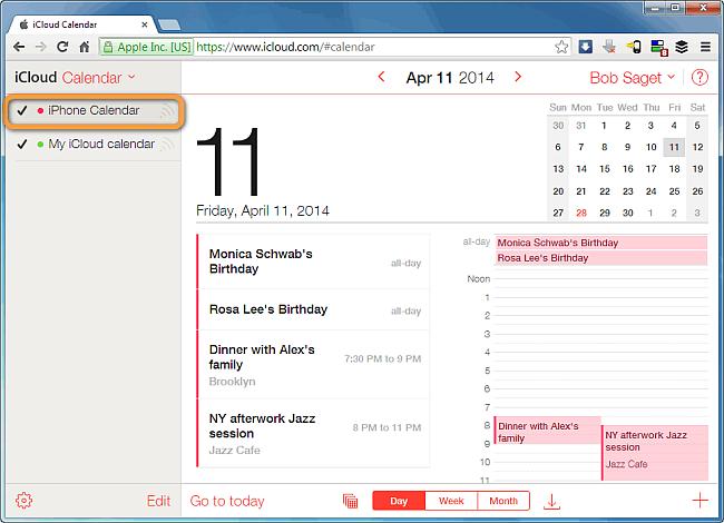 iphone calendar appearing in icloud account via web browser window